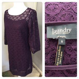 Laundry Shelli Segal Purple Lace Sheath Dress Sz 8